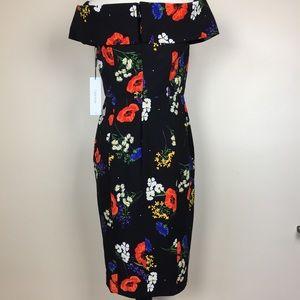 Calvin Klein Off Shoulder Black Floral Dress